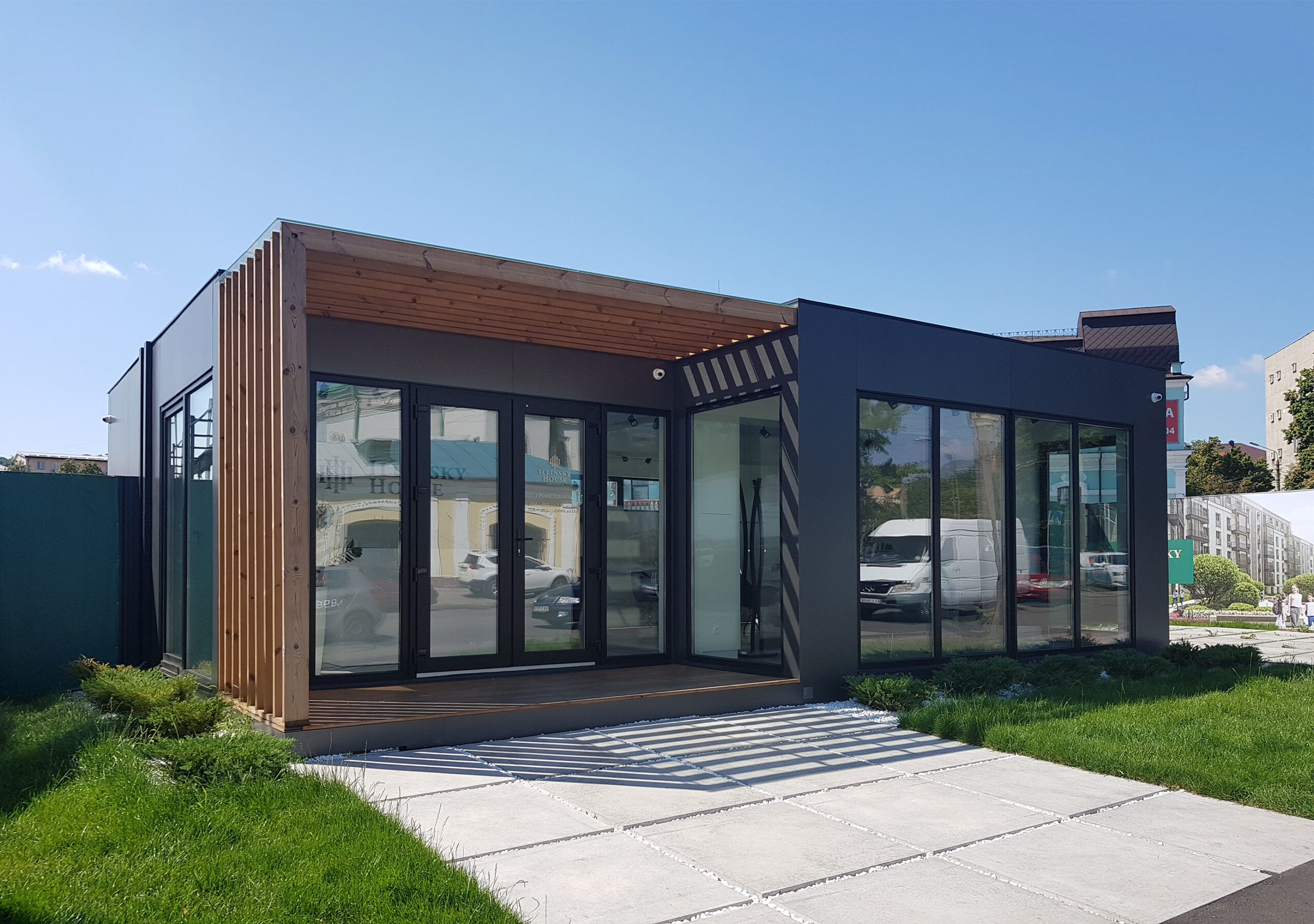 модульний офіс продажу, модульный офис продаж, sales office module house.